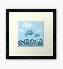 Dolphins in blue sea wave.  Framed Print