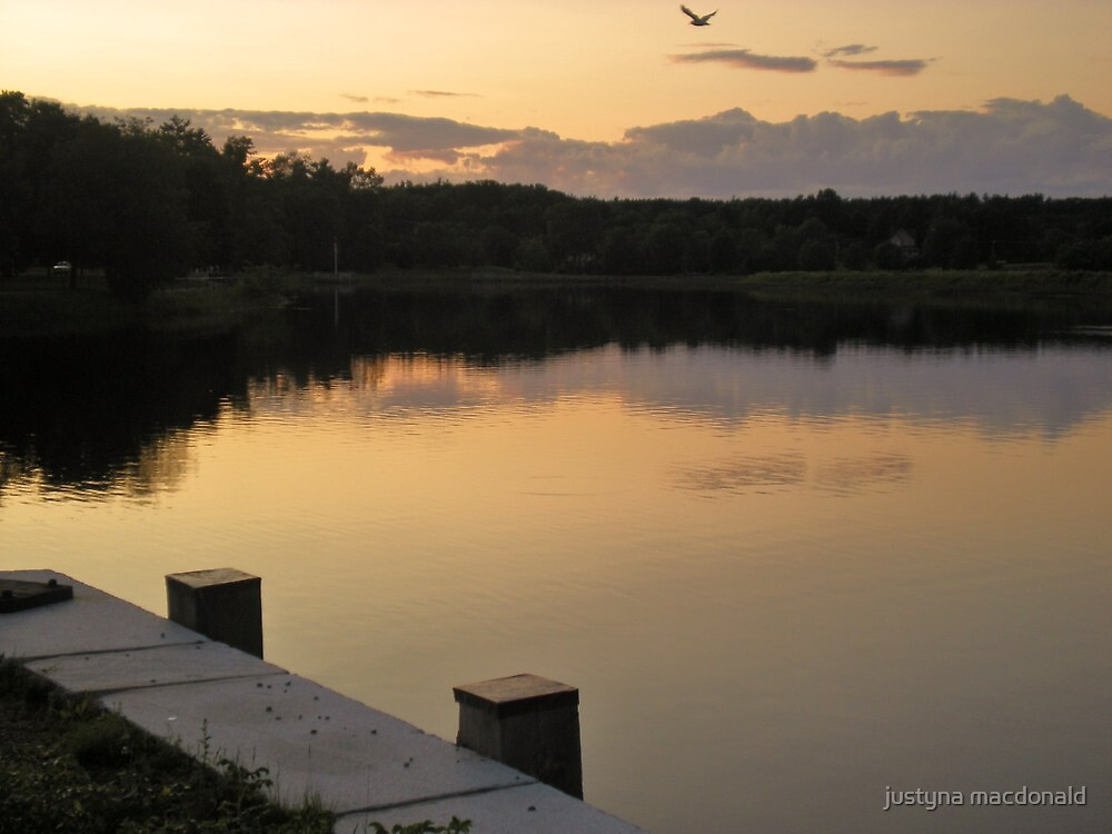 sunset above the exeter river, nh by justyna macdonald