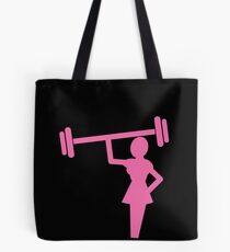 Woman shape in pink lifting weights Tote Bag