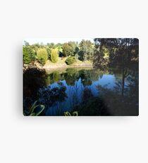 Reflection in blue lake, Berwick, Australia Metal Print