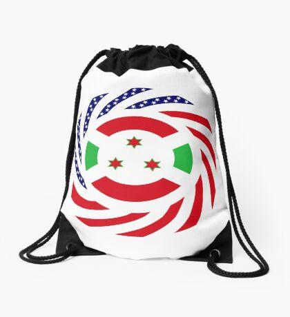 Burundian American Multinational Patriot Flag Series Drawstring Bag