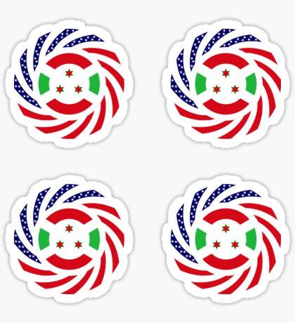 Burundian American Multinational Patriot Flag Series Glossy Sticker