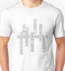 BTS/Bangtan Boys Names - Crossword Puzzle Style T-Shirt