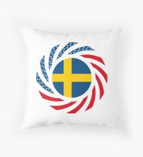 Swedish American Multinational Patriot Flag Series Throw Pillow