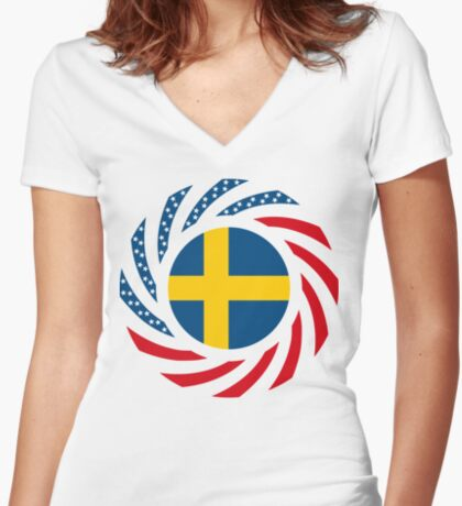 Swedish American Multinational Patriot Flag Series Fitted V-Neck T-Shirt