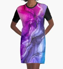 Abstract Vibrant Rainbow Ombre Graphic T-Shirt Dress