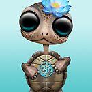 Zen Baby Turtle mit blauem Yoga Om Symbol von jeff bartels
