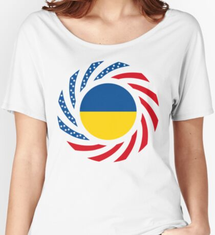Ukrainian American Multinational Patriot Flag Series Relaxed Fit T-Shirt