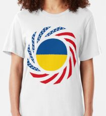 Ukrainian American Multinational Patriot Flag Series Slim Fit T-Shirt