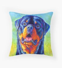Gentle Guardian - Colorful Rottweiler Dog Throw Pillow