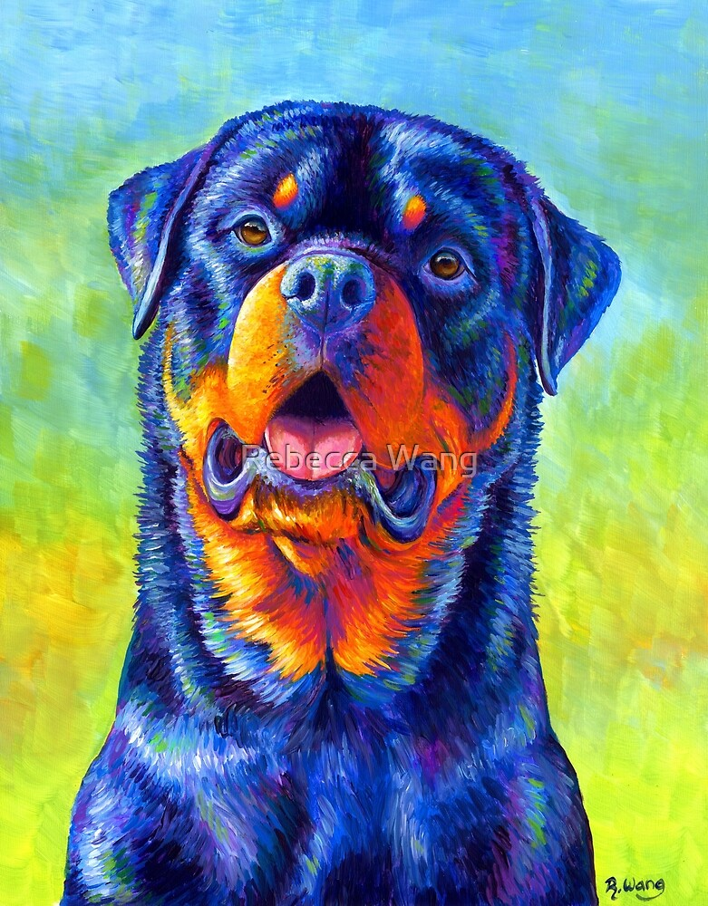 Gentle Guardian - Colorful Rottweiler Dog by Rebecca Wang
