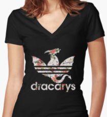Camiseta entallada de cuello en V Dracarys Dragon Flowers