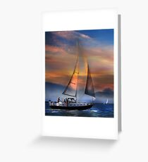 One Sail at Sunset Greeting Card