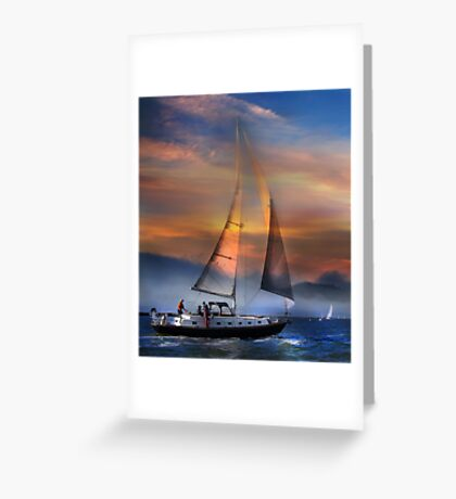 One Sail at Sunset Greeting Card