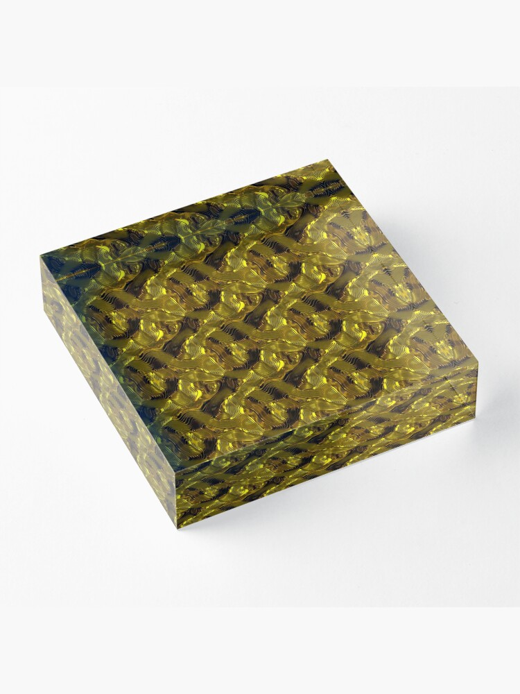 Alternate view of Decorative design ,pattern, textile,cover.Gold. Acrylic Block