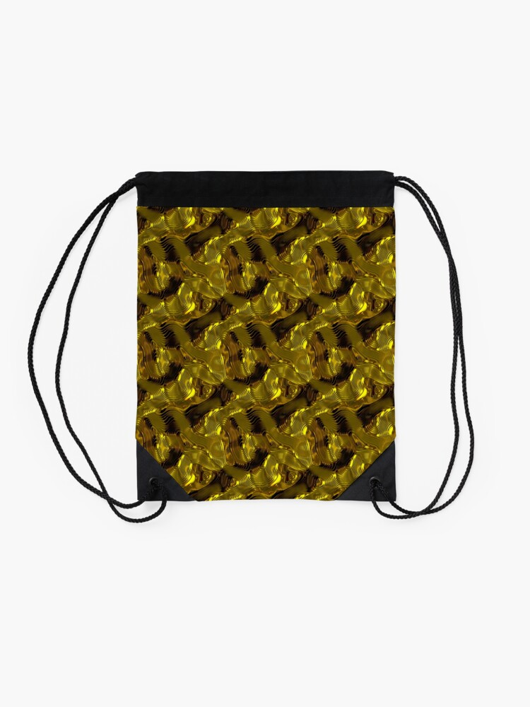 Alternate view of Decorative design ,pattern, textile,cover.Gold. Drawstring Bag