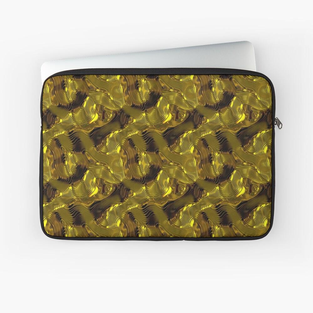 Decorative design ,pattern, textile,cover.Gold. Laptop Sleeve