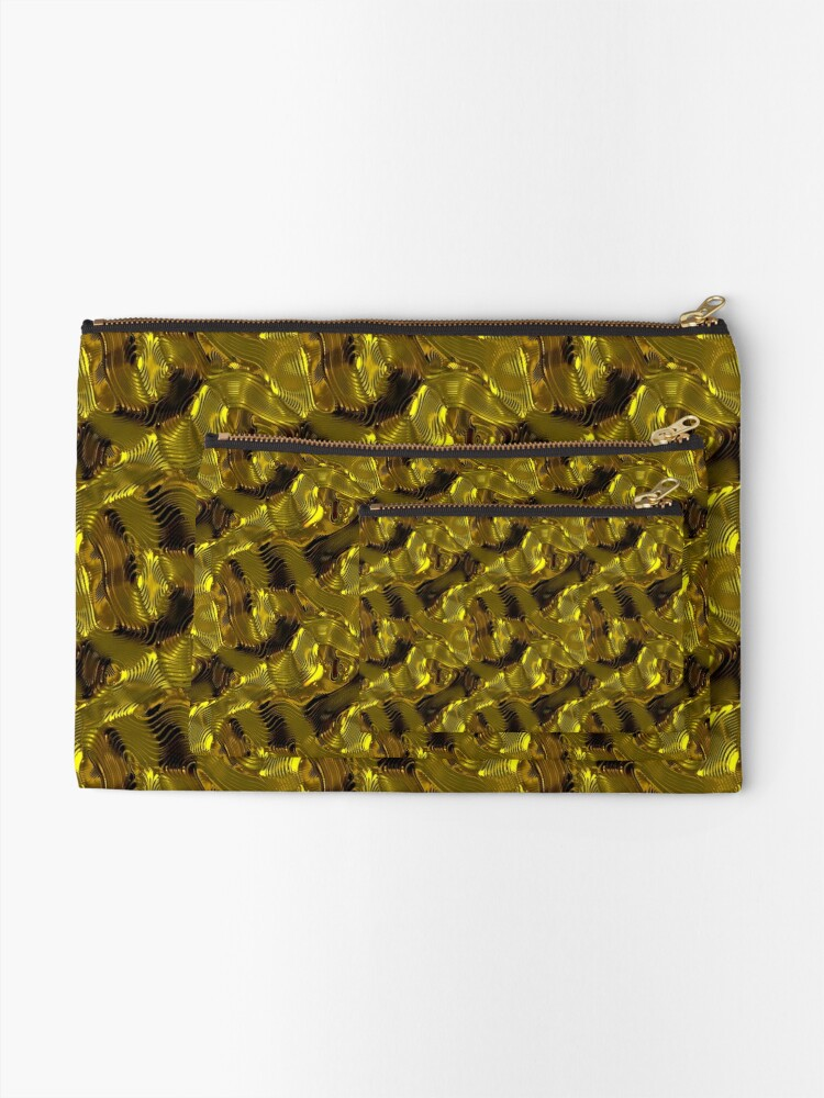 Alternate view of Decorative design ,pattern, textile,cover.Gold. Zipper Pouch