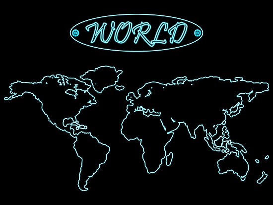 Blue neon world map against black by Laschon Robert Paul