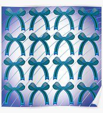 Blue ribbon pattern Poster