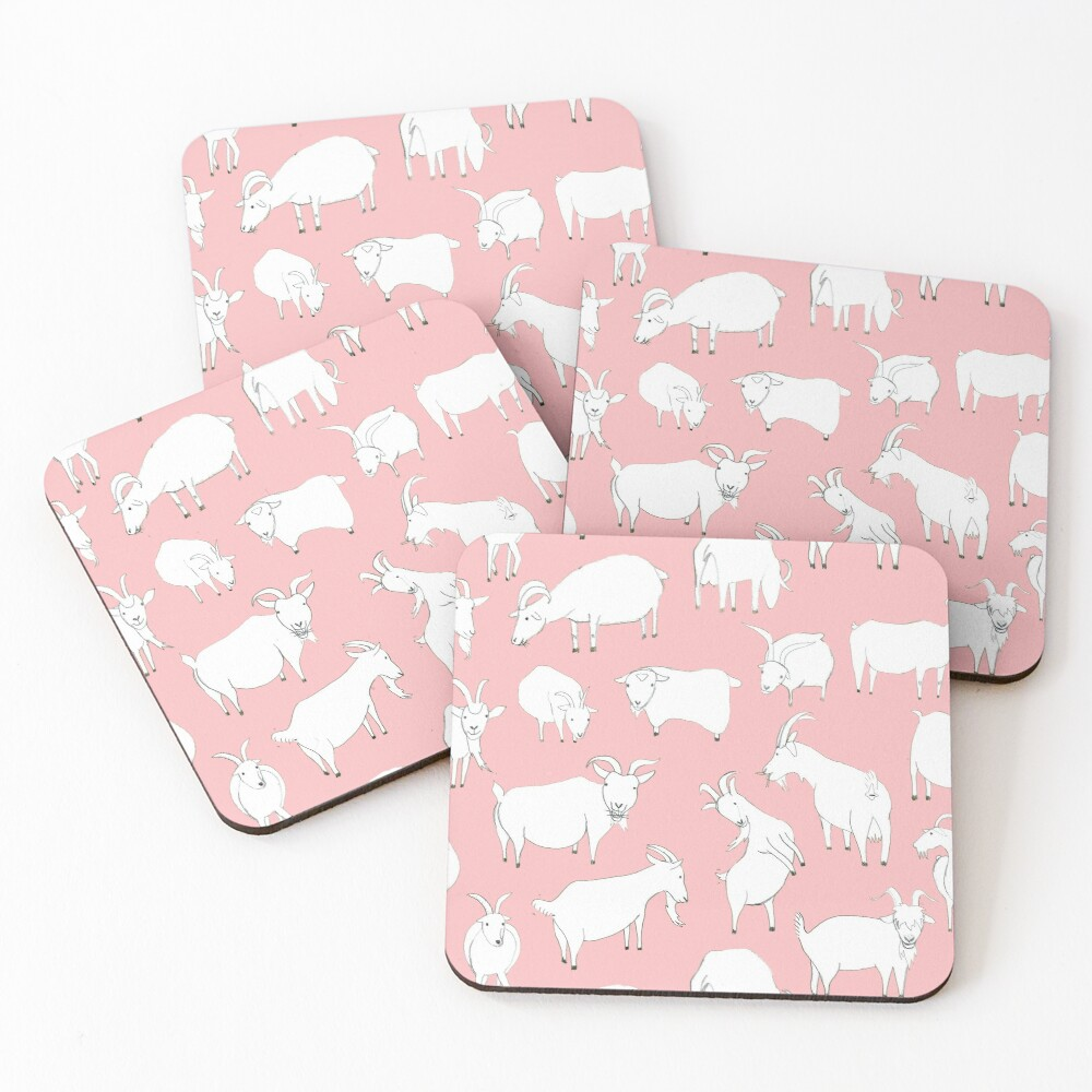 Goats playing - Pink Coasters (Set of 4)