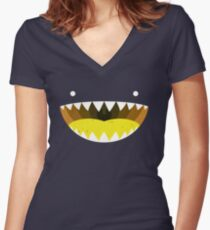 Mouth Tee Yellow Women's Fitted V-Neck T-Shirt