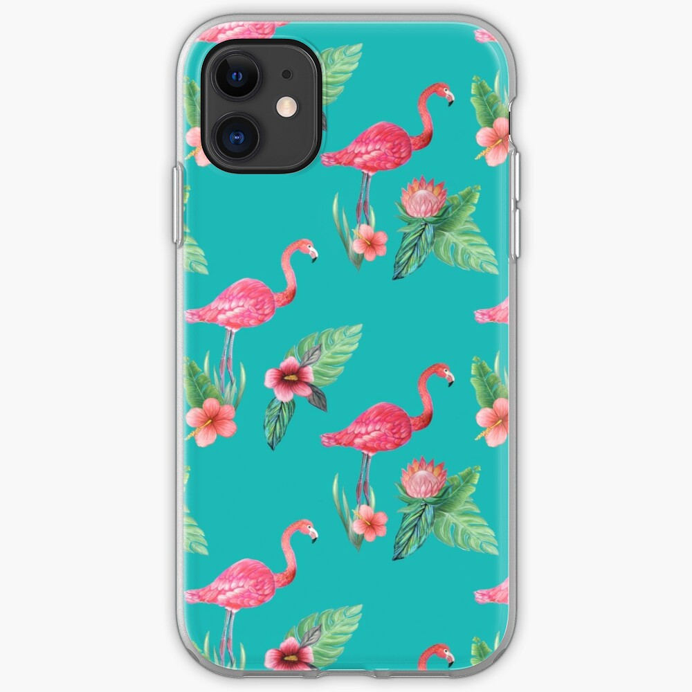 Pink Flamingo flower garden on teal, painted in watercolor iPhone Case & Cover