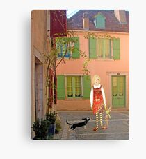 """""""Meg, bongo and bunny""""Streetscape in France. Metal Print"""