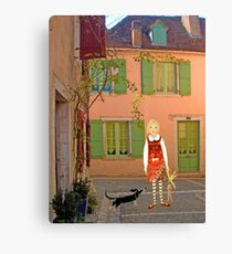 """""""Meg, bongo and bunny""""Streetscape in France. Canvas Print"""