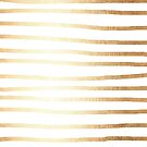 Abstract Tribal Striped Drawing Boho Vintage Minimal Stripes Gold White III von SimpleLuxe