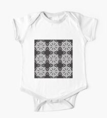 Black and White Geometric Lace One Piece - Short Sleeve