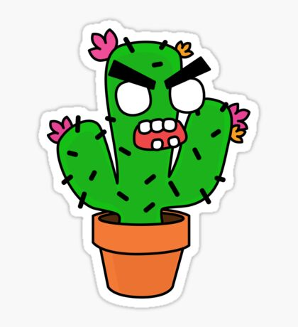 angry zombie cactus Glossy Sticker