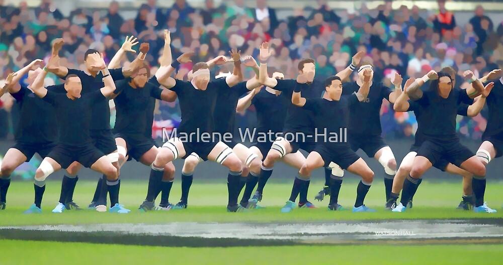 NZ Haka - All Blacks - Gespenstisches Aquarell von Marlene Watson