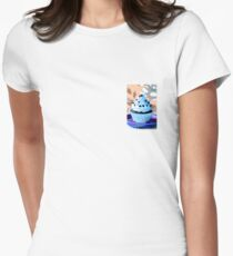Chocolate Cupcakes with Blue Buttercream Womens Fitted T-Shirt