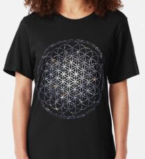 Flower Of Life - Sacred Geometry Star Cluster Slim Fit T-Shirt