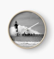 Lighthouse in a storm Clock