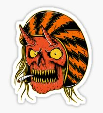 Biker Skull smoking - designed by Joe Tamponi Sticker