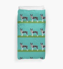 A Boston Terrier Winter Duvet Cover
