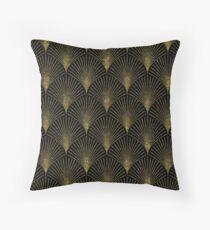 Schwarzes und Goldkunst-Deko geometrisches Muster Dekokissen