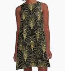 Schwarzes und Goldkunst-Deko geometrisches Muster A-Linien Kleid