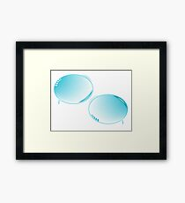 Blue text bubbles Framed Print