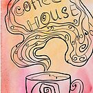 Coffee house doodling on watercolor background. by miroshina