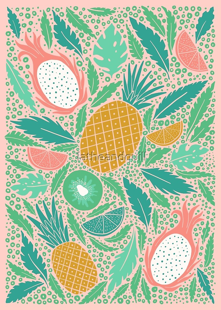 Summer Fruit on Pink by latheandquill