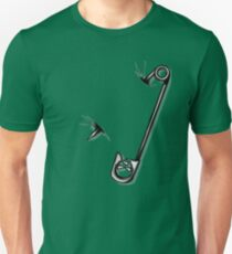 Safety Pin Skulls Design Green Unisex T-Shirt