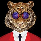 Retro Tiger In A Red Suit And Sunglasses by Ricaso