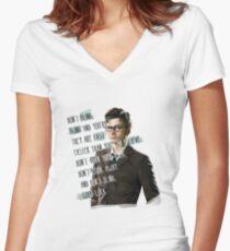 DON'T BLINK!! Women's Fitted V-Neck T-Shirt