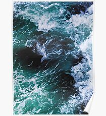 Póster Blue Ocean Waves, fotografía de mar, paisaje marino