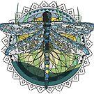 Abstrakte moderne Libellen Mandala Grafik von masatomio