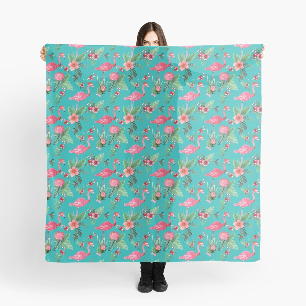 Christmas Flamingo Tropical Holiday Scarf