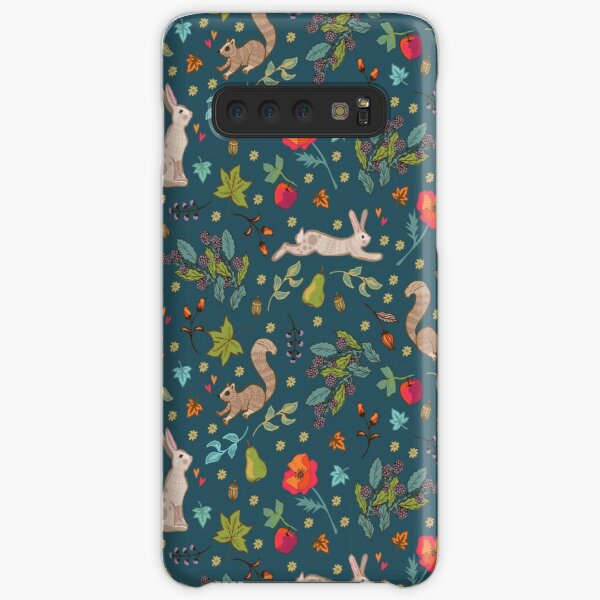 Autumn Hares and Squirrels on Ink Petrol Blue Samsung Galaxy Snap Case